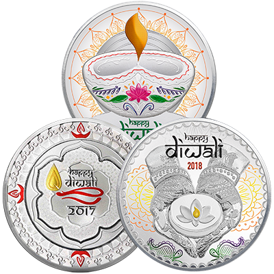 A picture of a 3 oz. TD Diwali Silver Round Bundle (1 oz./ piece)